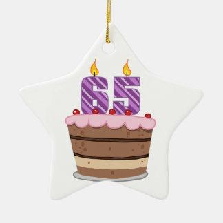 Edad 65 en la torta de cumpleaños adorno de cerámica en forma de estrella