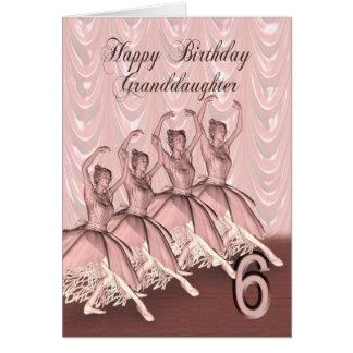 Edad 6, una tarjeta de la nieta de cumpleaños de l