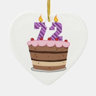 Edad 72 en la torta de cumpleaños adornos de navidad