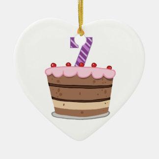 Edad 7 en la torta de cumpleaños ornaments para arbol de navidad
