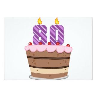 Edad 80 en la torta de cumpleaños invitación personalizada