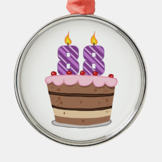 Edad 88 en la torta de cumpleaños adorno redondo plateado