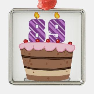 Edad 89 en la torta de cumpleaños ornaments para arbol de navidad