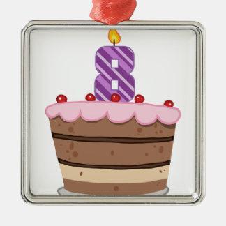 Edad 8 en la torta de cumpleaños ornamento de navidad