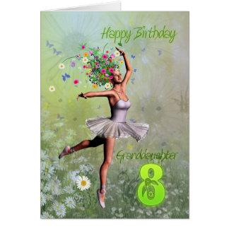 Edad 8, tarjeta de la nieta de cumpleaños de hadas