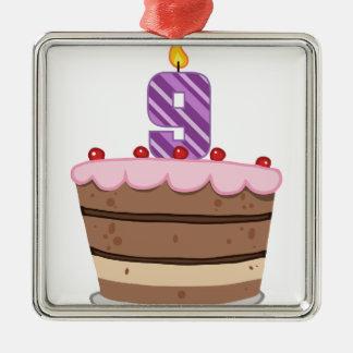 Edad 9 en la torta de cumpleaños adorno cuadrado plateado