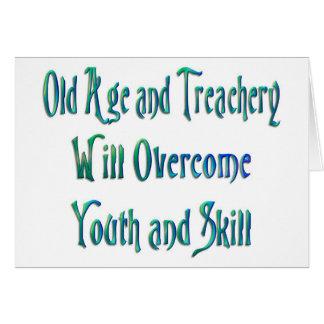Edad avanzada y traición tarjeta de felicitación