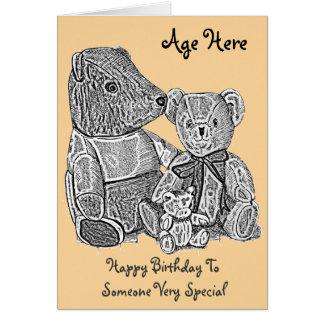 Edad blanco y negro linda de tres osos de peluche tarjeta de felicitación