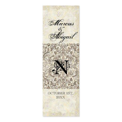 Edad de plata de la elegancia, etiqueta con monogr plantilla de tarjeta de visita