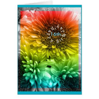 (Edad) el décimosexto arco iris del teñido anudado Tarjeta De Felicitación
