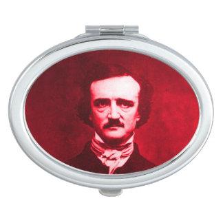 Edgar Allan Poe en rojo Espejo Para El Bolso