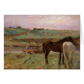 Edgar Degas - caballos en un prado Tarjeta