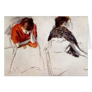 Edgar Degas - dos mujeres asentadas Tarjeta