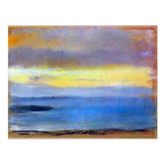 Edgar Degas - tira costera en la puesta del sol Postal