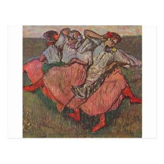 Edgar Degas - tres pastel ruso de los bailarines 1 Postal