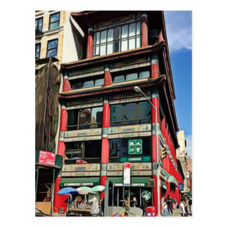 Edificios bonitos en Chinatown en postal de NYC