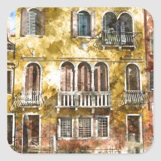 Edificios coloridos de Venecia Italia Pegatina Cuadrada