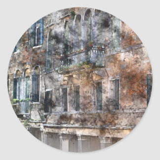 Edificios coloridos de Venecia Italia Pegatina Redonda