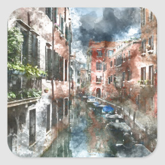 Edificios coloridos en Venecia Italia Pegatina Cuadrada