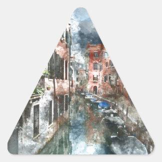 Edificios coloridos en Venecia Italia Pegatina Triangular