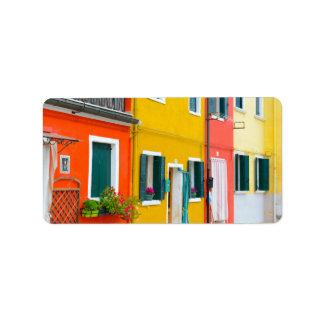 Edificios de Burano Italia Etiquetas De Dirección