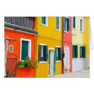 Edificios de Burano Italia Tarjeta
