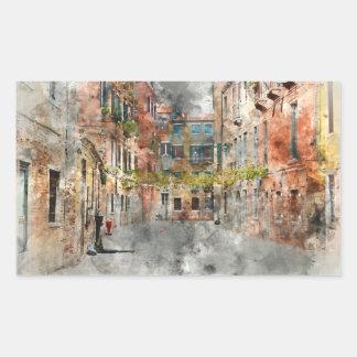 Edificios hermosos en Venecia Italia Pegatina Rectangular