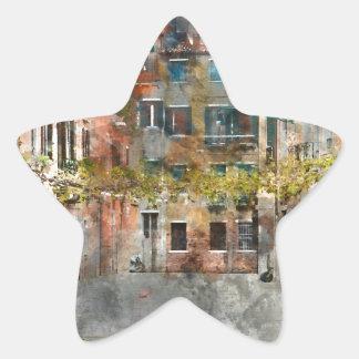Edificios y canales coloridos de Venecia Italia Pegatina En Forma De Estrella