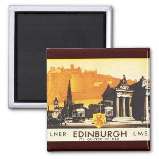 Edimburgo vía el poster del carril de LNER Imán