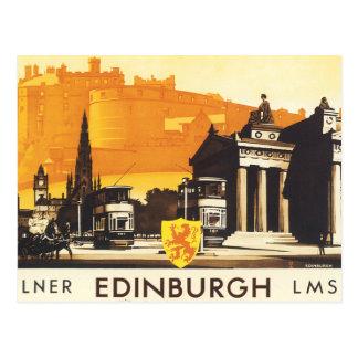 Edimburgo vía el poster del carril de LNER Postal