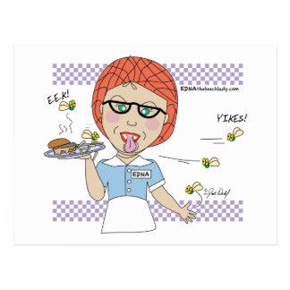 Edna la señora Cartoons del almuerzo Postal