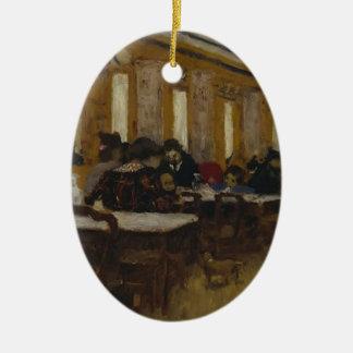 Eduardo Vuillard- el pequeño restaurante Adorno Ovalado De Cerámica