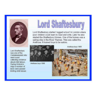 Educación, reformadores, señor Shaftesbury Postal