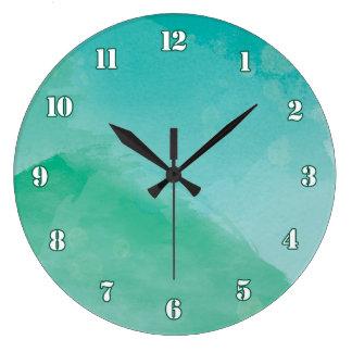 Efecto azulverde imponente de la acuarela reloj redondo grande
