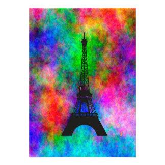 Efecto colorido del paño de París de la torre Eiff
