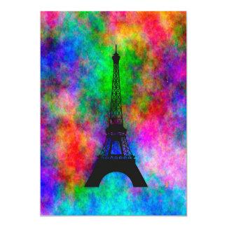 Efecto colorido del paño de París de la torre Invitación 12,7 X 17,8 Cm