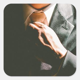 Efecto de sombra del lazo del hombre de negocios pegatina cuadrada