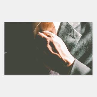 Efecto de sombra del lazo del hombre de negocios pegatina rectangular