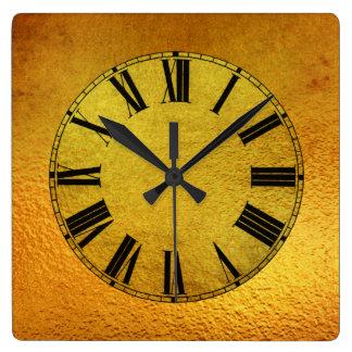 Efecto del oro y de la hoja de oro reloj cuadrado
