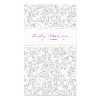 Efecto grabado en relieve damascos florales blanco tarjetas de visita