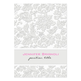 Efecto grabado en relieve damascos florales blanco tarjetas de visita grandes