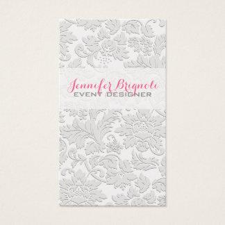 Efecto grabado en relieve damascos florales tarjeta de negocios