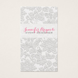 Efecto grabado en relieve damascos florales tarjeta de visita
