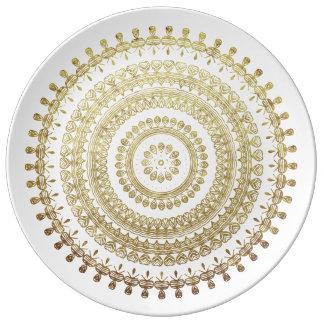 Efecto metálico de la mandala tribal del círculo plato de porcelana