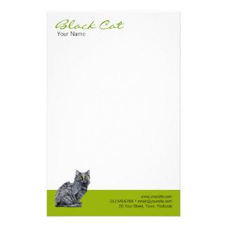 Efectos de escritorio del verde del gato negro  papeleria de diseño