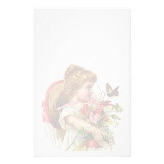 Efectos de escritorio florales del vintage en el papelería