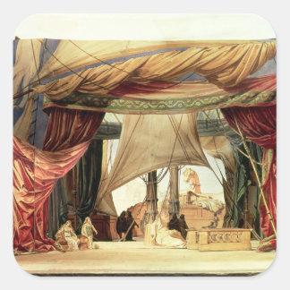 Efectúe el modelo para la ópera 'Tristan e Isolde Pegatina Cuadradas Personalizada