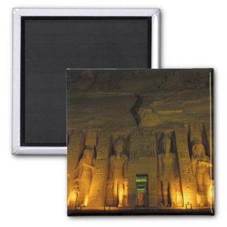 Egipto, Abu Simbel, fachada encendida de pequeño Imán Cuadrado