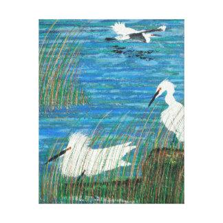 """Egret """"estuario """" nevado del blanco impresión en lienzo"""