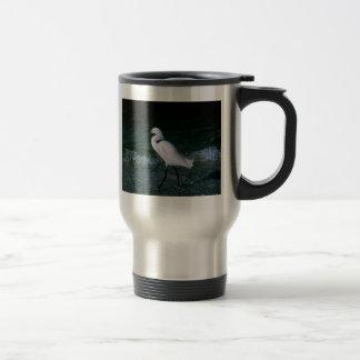 Egret nevado tazas de café